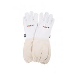 Skórzane rękawice pszczelarskie białe